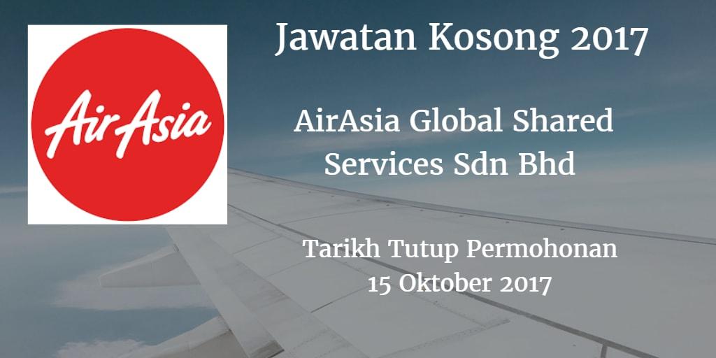 Jawatan Kosong AirAsia Global Shared Services Sdn Bhd 15 Oktober 2017