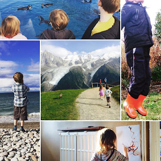 Photos including three children watching pengiuns, a boy jumping in red wellington boots, a girl painting in a hallway in the sunlight, a boy on a beach, and centered around a photo of a family walking in the mountains