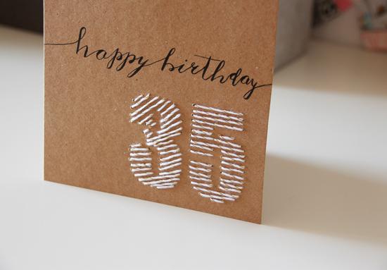 binedoro Blog, Grußkarte, Geburtstagskarte, sticken, stitching, Zahl, Kraftpapier, Handlettering