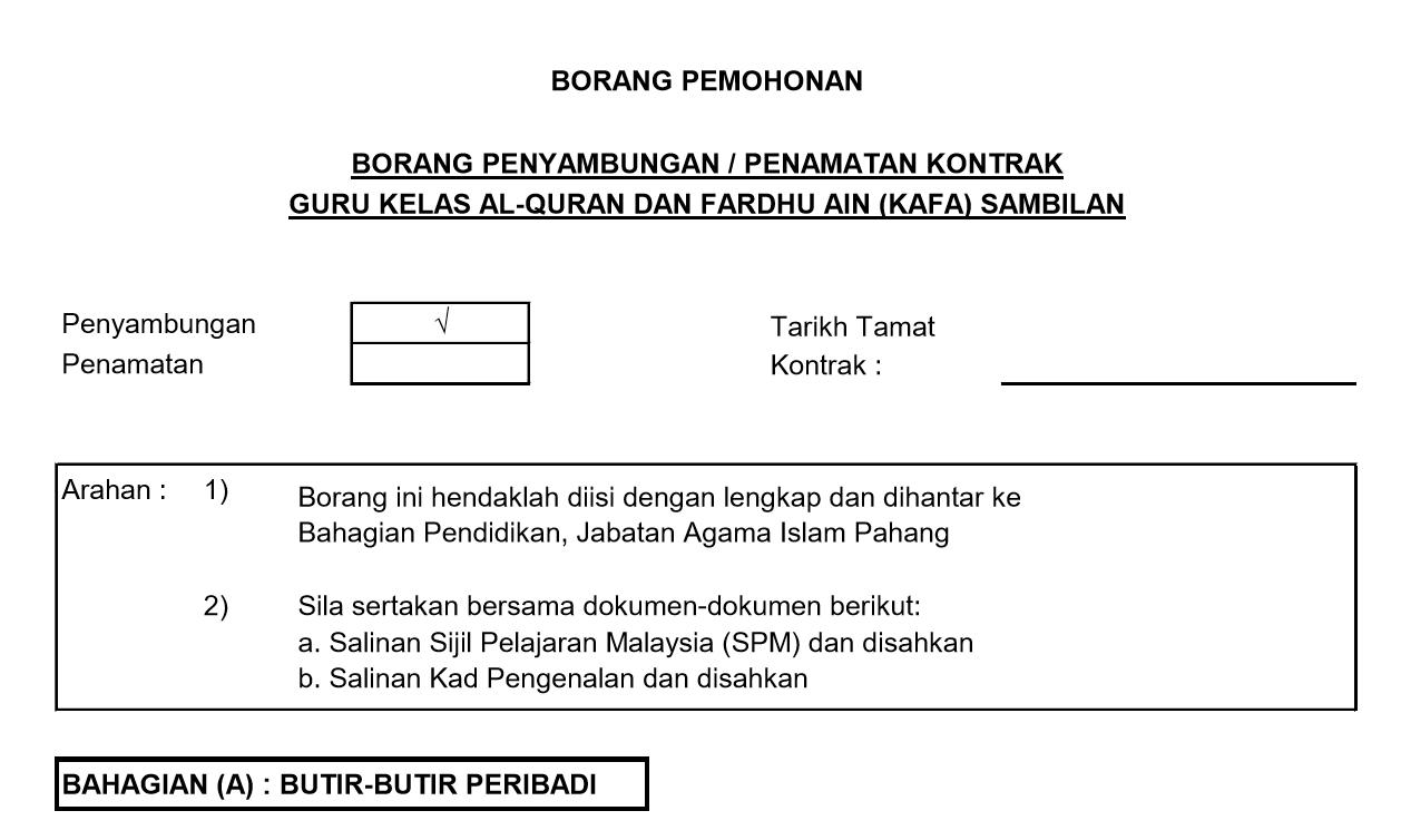 Borang Permohonan Sambung Kontrak Guru Kafa Jaip 2019 Persatuan Guru Guru Sar Kafa Daerah Kuantan