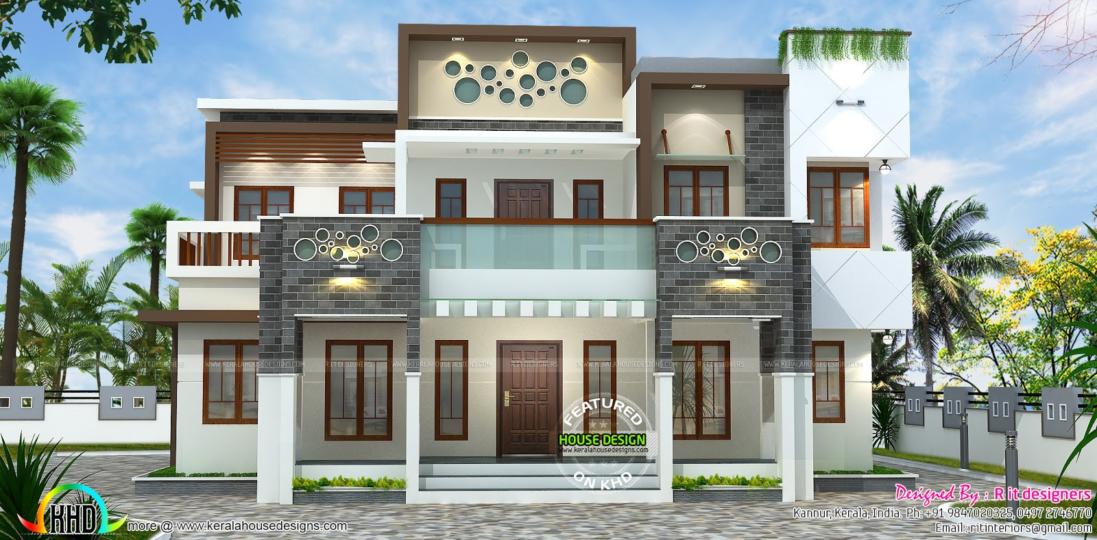 Kerala house front elevation designs five things you for Flat roof elevation