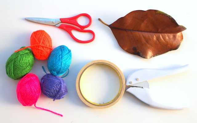 Materials Needed to Make Leaf Sewing Yarn Art With Kids