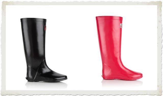 stivali da pioggia neri e rossi pretty clever shoes