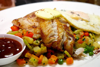 Pan Fried Coley with Diced Vegetables