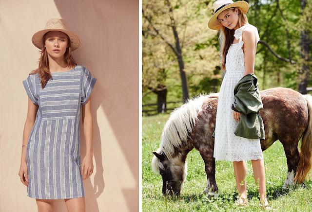Девушка в платье в соломенной шляпе федоре летом
