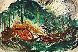 Lukisan Karya Affandi yang beraliran Abstraksionisme