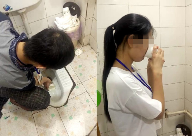 Chinese employees forced to drink toilet water