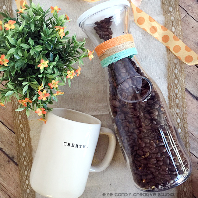 coffee beans, coffee mug, carafe, flowers, gift ideas, target crafting