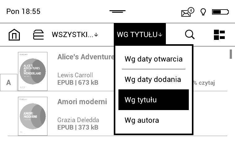 PocketBook Aqua 2 – zrzut ekranu biblioteki rozwiniętymi opcjami sortowania e-booków