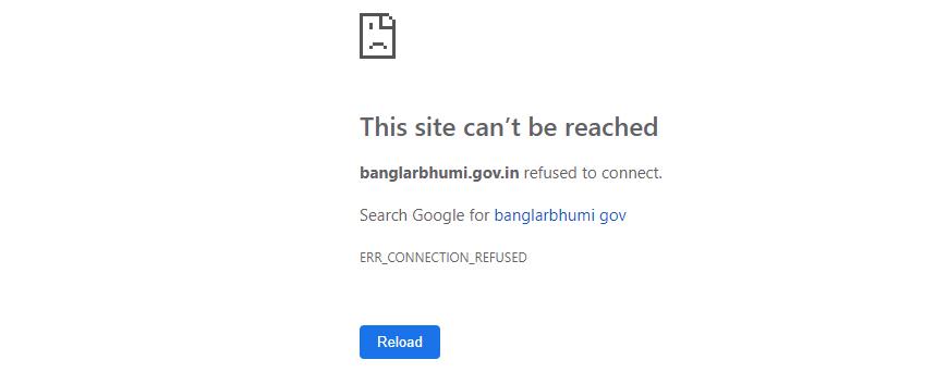error of banglarbhumi.gov.in website