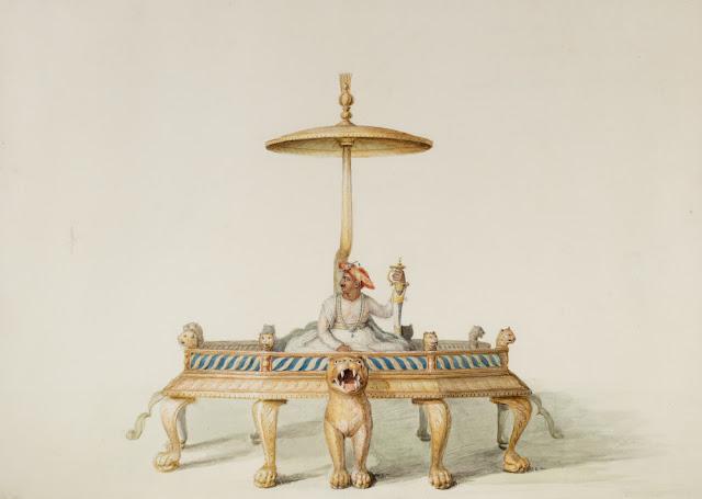 watercolor-representation-of-tipu-sultan's-throne