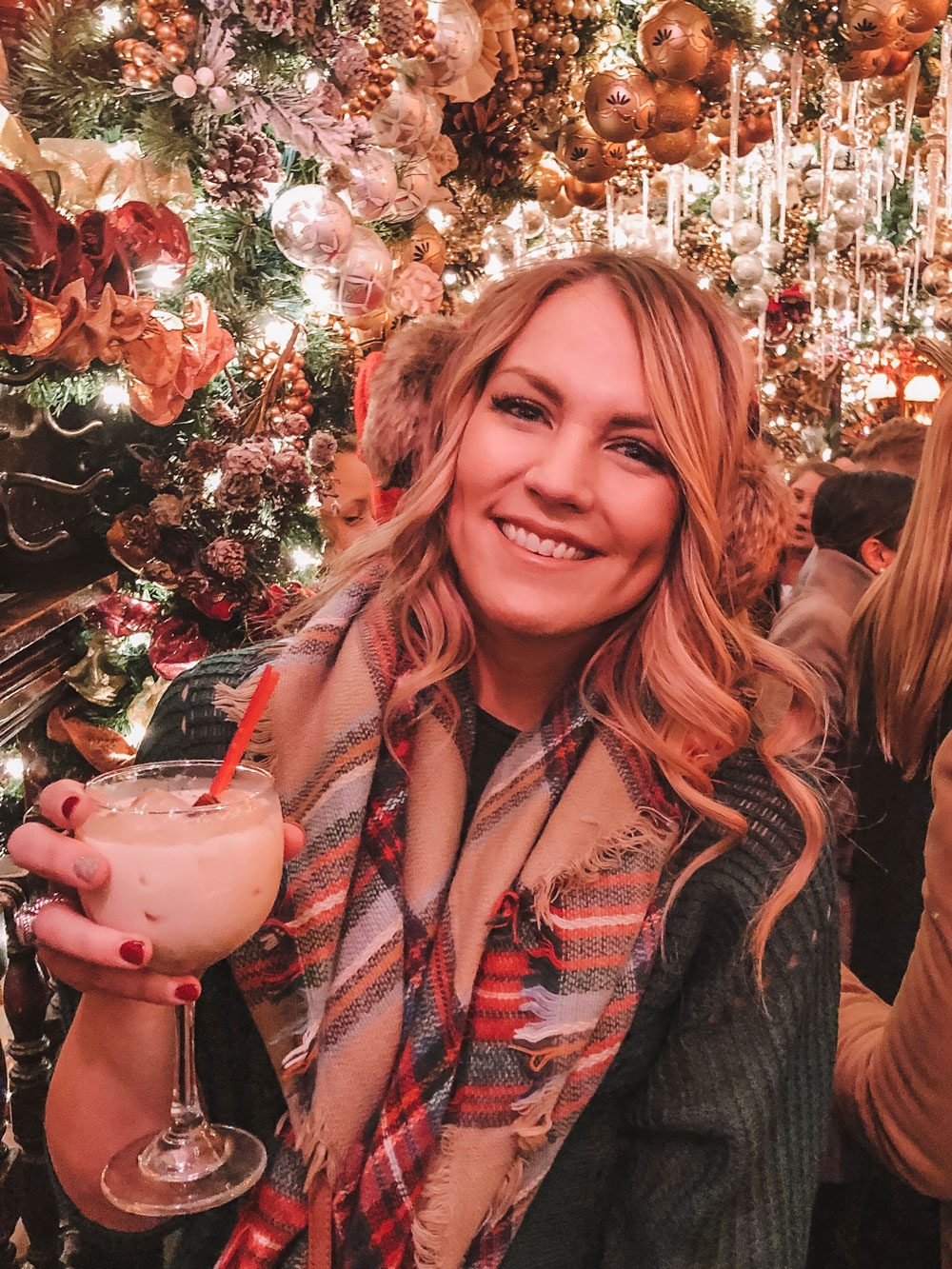 Blogger Amanda Martin from Oklahoma City visits Rolf's for a Christmas cocktail in New York City