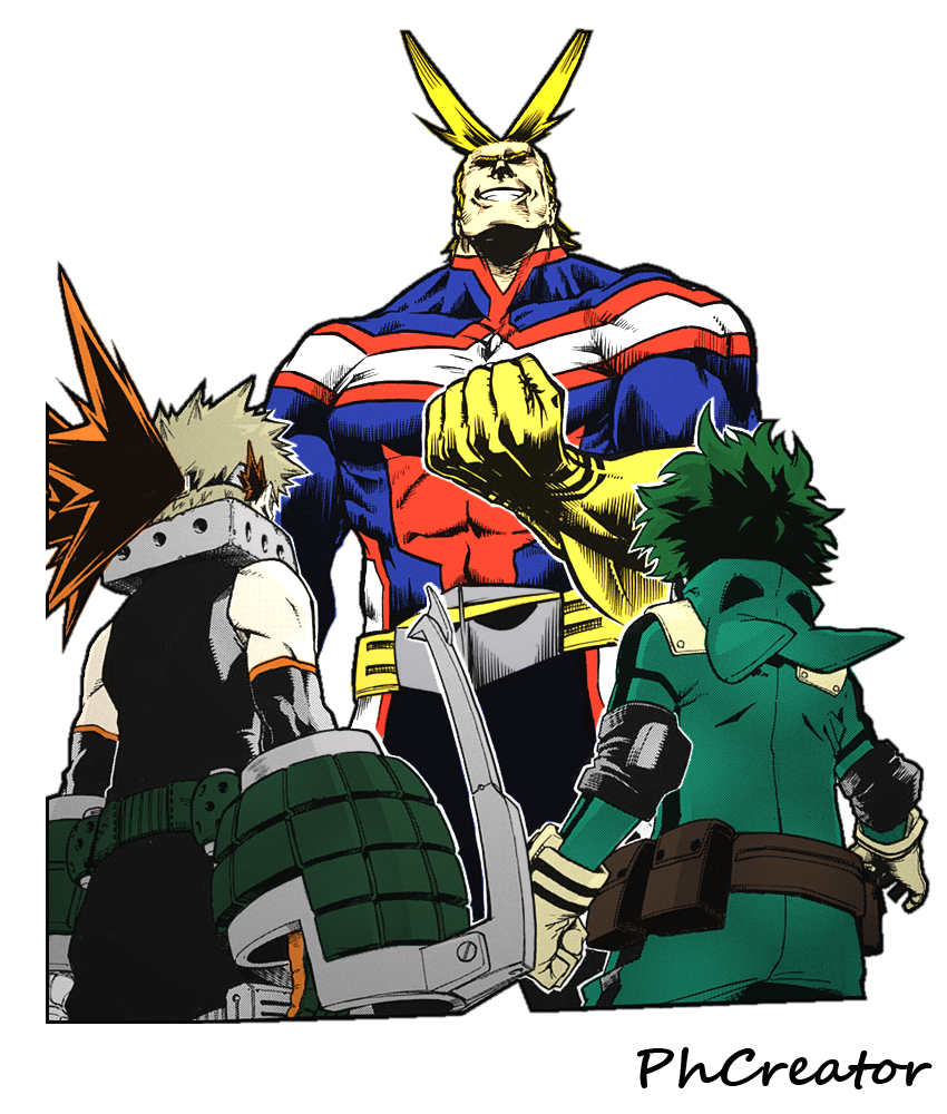Render All Might, Bakugou Katsuki and Midoriya Izuku MANGA