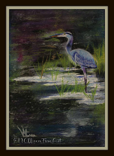 blue heron in water ncwren pastel 30in30
