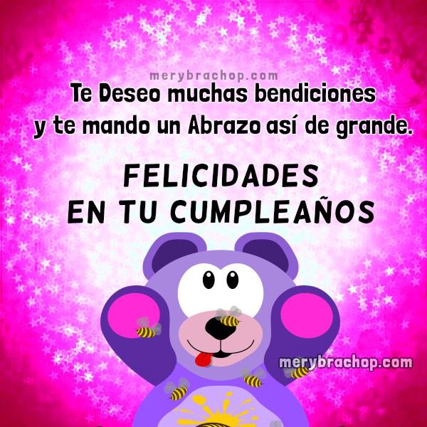 Tarjeta de cumpleaños para niña, sobrina, hija, hermana. Bonito mensaje de cumpleaños con bendiciones para una chica, niña linda por Mery Bracho.
