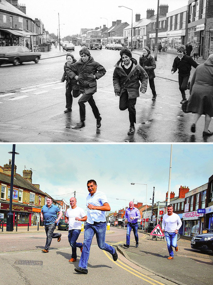 Photographer Recaptures Old Pictures Creating A Beautiful Reunion Of People He Photographed Decades Ago - Five Boys Running (1987 And 2016)