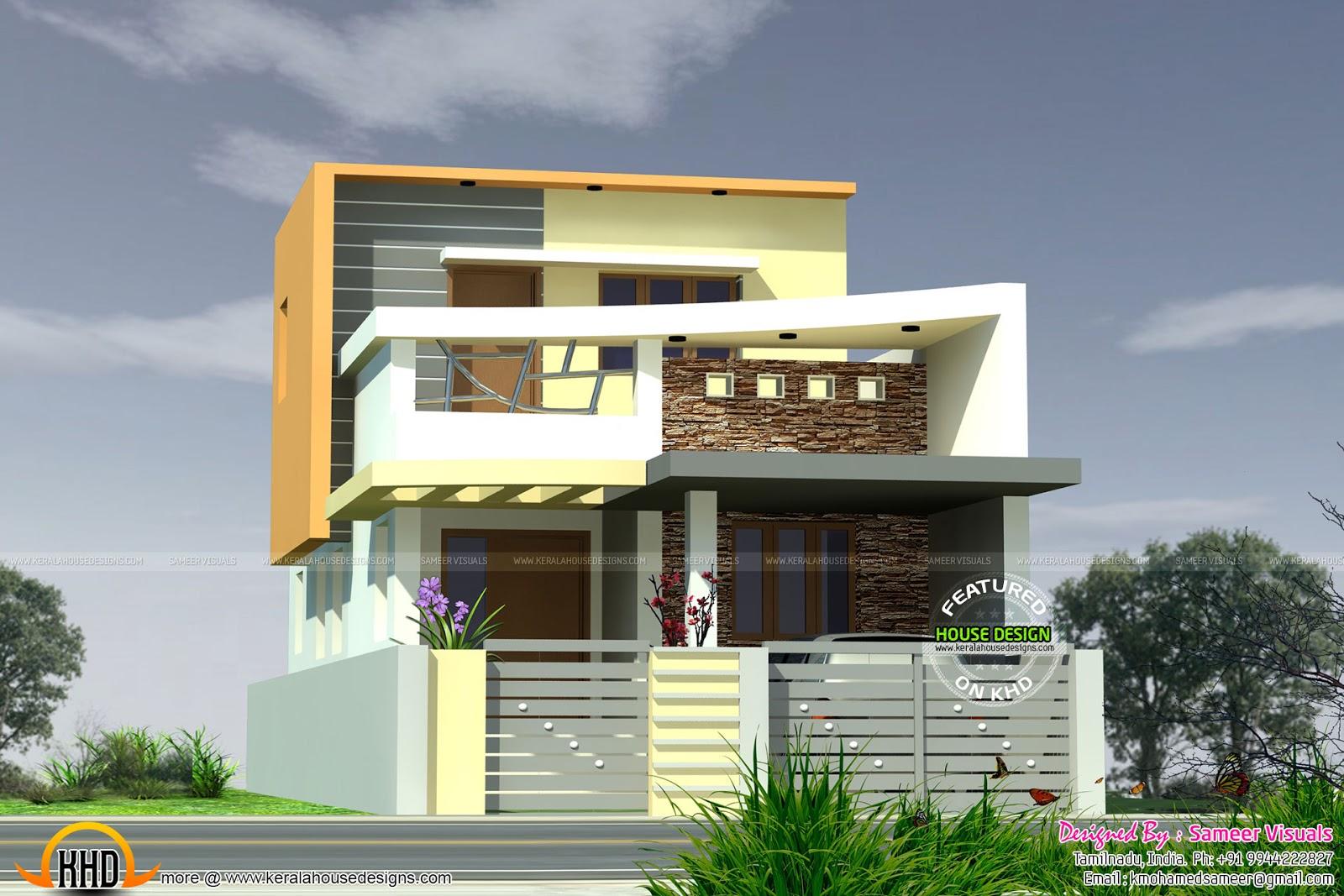 1390 sq ft Modern Tamilnadu  house  Kerala home  design  and