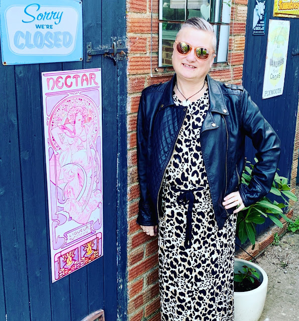 madmumof7 in animal print dress and leather-look biker jacket