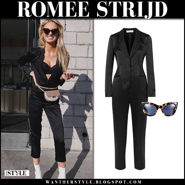 Romee Strijd in black jumpsuit fleur du mal and white ankle boots stuart weitzman clingy model style march 11