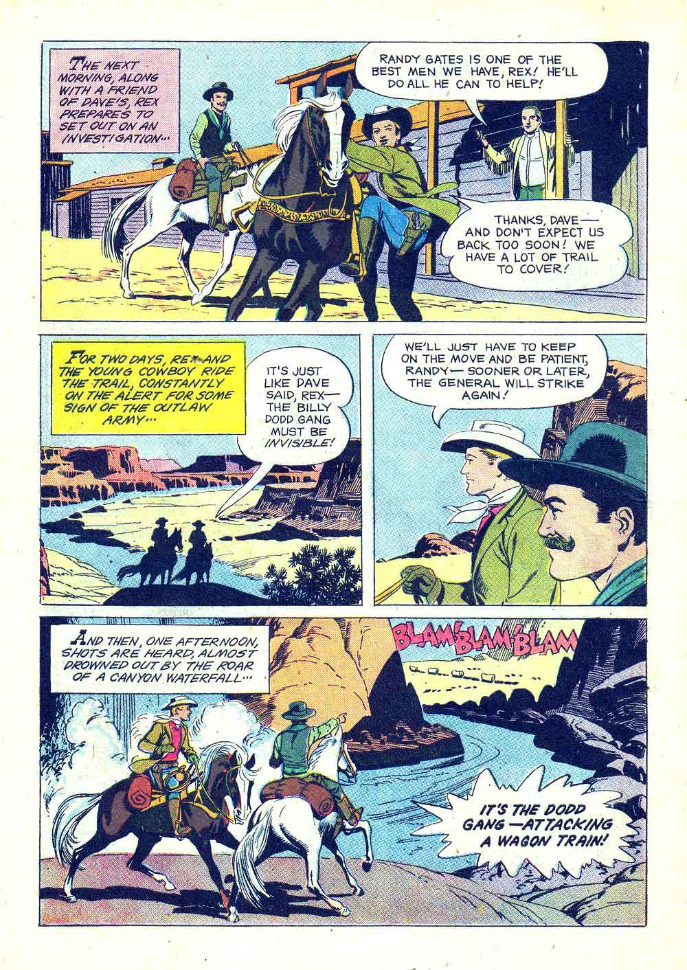 Rex Allen v1 #29 dell western comic book page art by Russ Manning