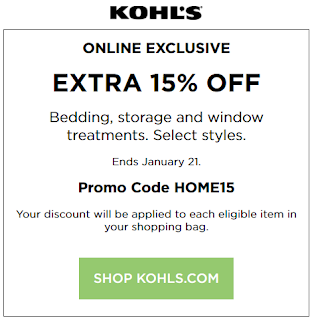 Kohls coupon 15% OFF Bedding and Storage