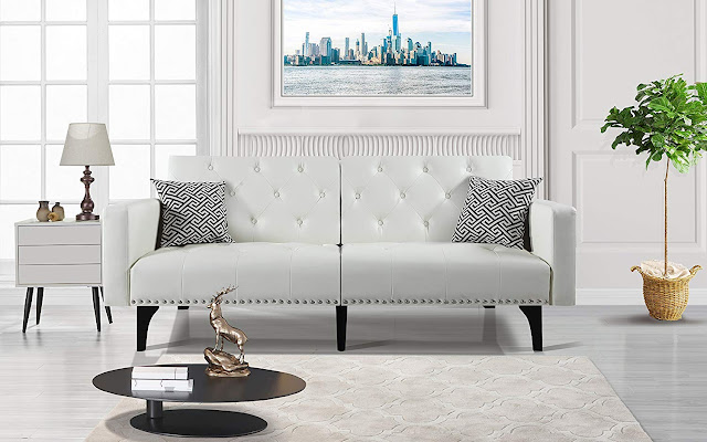 white leather best sofa for small living rooms