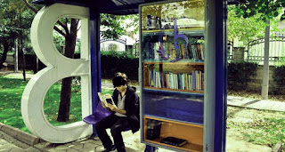 Books at Bus Stop Shelter