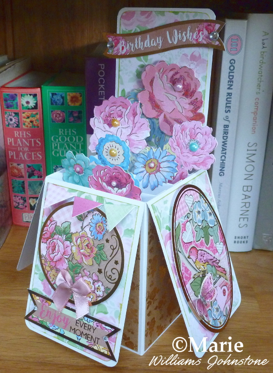 Flower box pop-up card tutorial and instructions make your own handmade cards easy steps with craftymarie.com