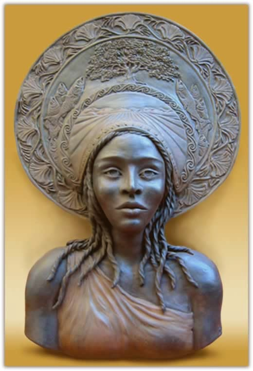 more artwork and bust of Queen Califia