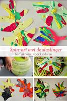Spin-art met de slaslinger- herfstknutsel voor kinderen