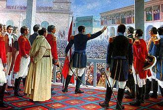 Dibujo en el día de la Proclamación de la Independencia del Perú a colores