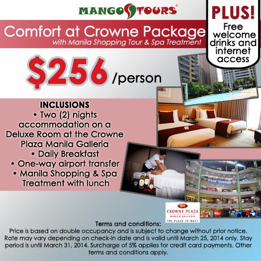 Mango Tours Crowne Plaza Manila Galleria promo package