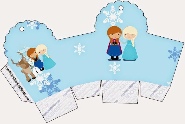Caja para cupcakes, chocolates o golosinas de Frozen Niñas para Navidad Azul.