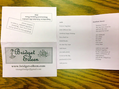 Bridget Eileen Business Card Broadside for the Boston Poetry Marathon 2016 - Impertinent Bobolink Broadsides