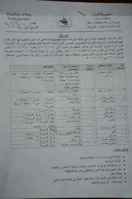 درجات وظيفية في مديرية زراعة محافظة واسط لغاية 10-12-2016