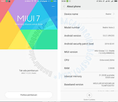 Cara Update Xiaomi Redmi Note 2 Ke MIUI Versi 7.2.3.0 Terbaru
