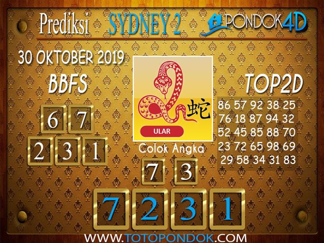 Prediksi Togel SYDNEY 2 PONDOK4D 30 OKTOBER 2019