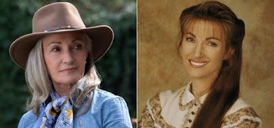 Jane Seymour, aos 68 anos, na comédia The Kominsky Method, e nos anos 1990 em Dra. Quinn