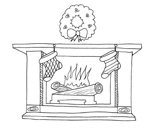 Christmas Fireplace Coloring Pages | Learn To Coloring