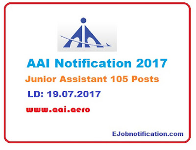 Airports Authority of India Notification 2017 Junior Assistant jobs on aai.aero