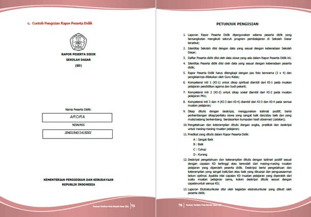 Contoh Pengisian Raport Peserta Didik untuk SD sesuai Panduan Penilaian dari Kemdikbud