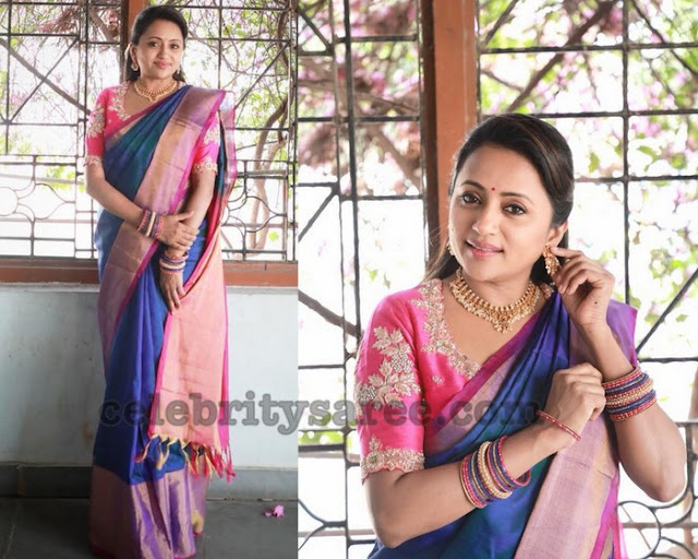 Suma Blue Pink Traditional Saree
