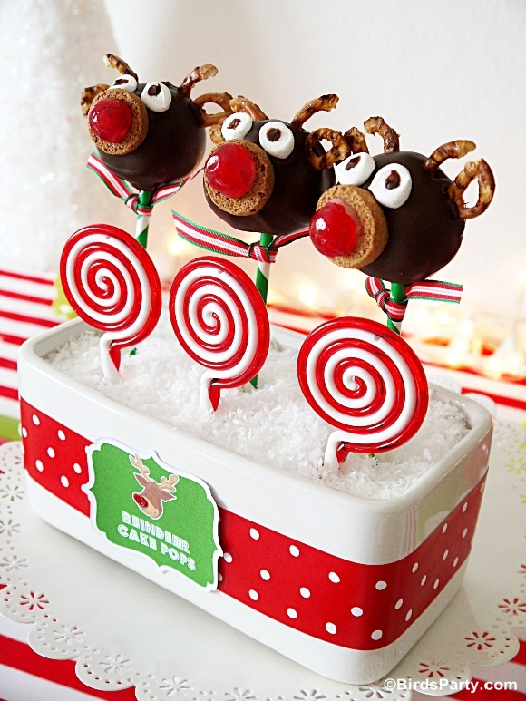 Rudolph Chcocolate Cake Pops Recipe - BirdsParty.com