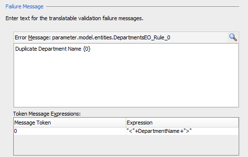 Dynamic (parameterize) model level validation using message