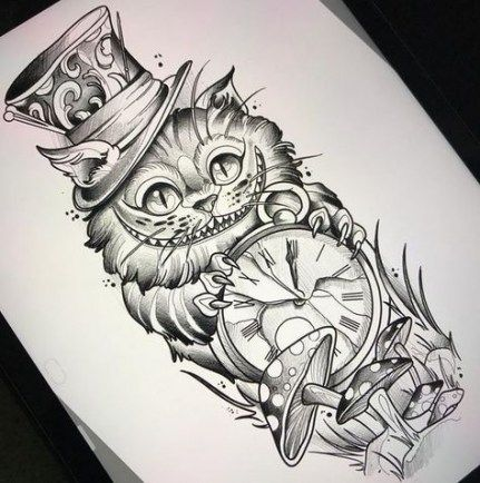 Alice In Wonderland Cat Tattoos Best Tattoo Ideas