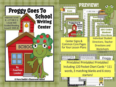 Fern Smith's Classroom Ideas Back to School with the TPT Sale and my Favorite Froggy Goes to School Writing Center!