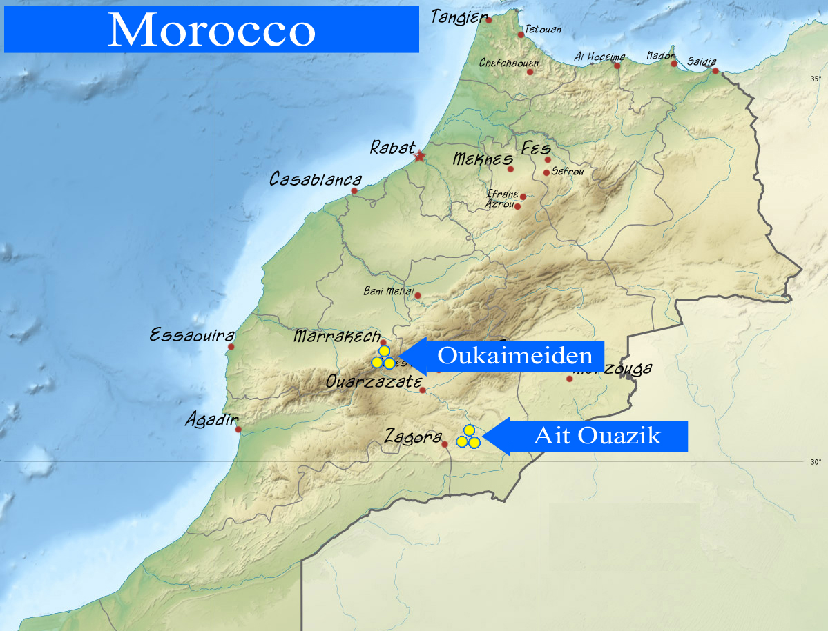 Links through space echoes of archaeoastronomy 24 village of ait geographical location of the rock art sites in morocco ait ouazik sahara desert morocco and oukaimeden atlas mountains morocco gumiabroncs Image collections
