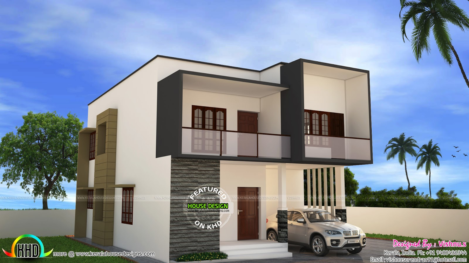 Simple modern house by vishnu s kerala home design and for Minimalist house design kerala