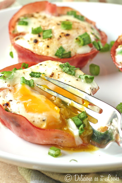 Low-FODMAP Baked Egg in Ham Cups (also Gluten-Free and Low-Carb)  /  Delicious as it Looks