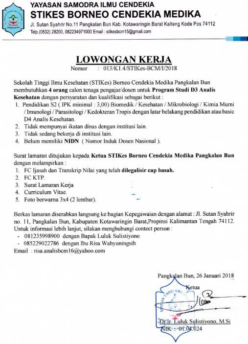 Lowongan Dosen Analis Kesehatan Stikes Borneo Cendikia Medika